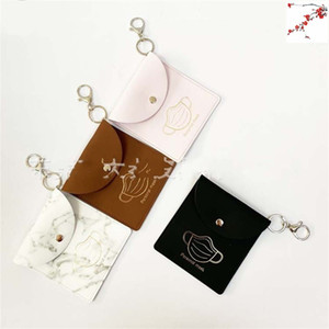 Storage Bag Mask Bags Masks Case Face Holder Leather Snap Button Square Marbling PU Waterproof 5 2dq F2
