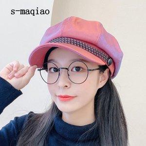 S-Maqiao осень зима восьмиугольная кепка женщин берет мода ретро козырь 2020 новый художник Hat1