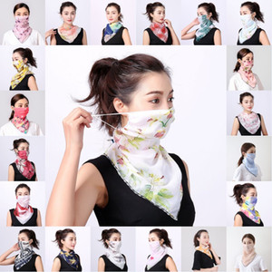 Free DHL Floral Print Triangle Scarf Anti-UV Chiffon Bandana Face Mask Outdoor Cycling Neck Gaiter Women Summer Windproof Neckerchief YAY152