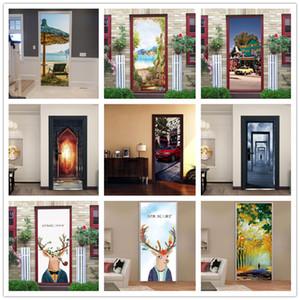 Self-adhesive Wallpaper For Bedroom Living Room Mural Creative Vinyl DIY Retro Bus Car Door Stickers Renovation Home Decoration
