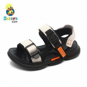 babaya 소년 샌들 진짜 가죽 아동 샌들 소프트 바닥 마모 스포츠 신발 아기 2020 여름 새로운 5qv4 #