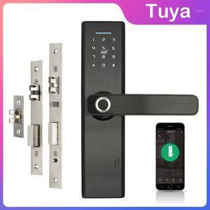 WiFi электронный дверной замок с мобильным телефоном Tuya приложение отпечатков пальцев 13,56 МГц IC карта Пароль разблокировки без разумного блокировки без ключа