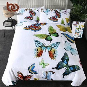BeddingOutlet Flying Butterflies Duvet Cover Set Butterfly Collection Bedding Set Queen Size Colorful Soft Bed Cover 3 Pieces