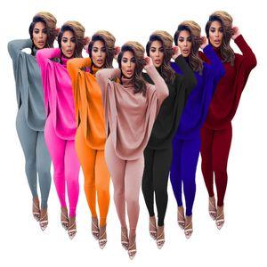 Frauen Anzug Zwei Stücke Set Designer Fashion High Neck Sweater Hosen Anzüge beiläufige feste Hieb-Hülsen-Top-Hosen Damen-Sportwear-Outfits