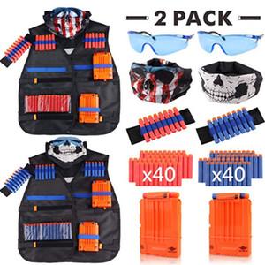 Children Black Tactical Vest Kit Accessories Waist Coat Sets Ammo Holder Elite Pistol Bullets Toy Clip Darts for Nerf Series Kids Toy
