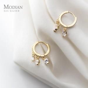 Modian Fashion Luminous CZ Elegant Hoop Earring for Women Sterling Silver 925 Tassel Earring Korea Style Fine Jewelry Brincos