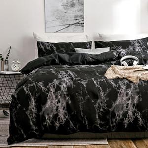 Oloey 2 / 3pcs Set di biancheria da letto Stampato Set di letti in marmo stampati Bianco nero piumino coperchio europeo Dimensioni europeo re Queen trapunta copertina copertura consolatore T200826