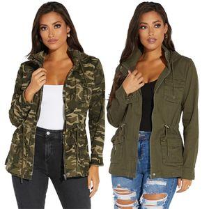 Tsuretobe automne camouflage sweat à sweat à capuchon en denim veste femme décontracté jeans veste poches manches longues jeans manteau manteau courte manteau extérieure 201022
