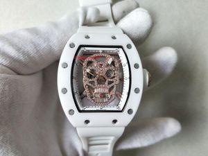 Artículos calientes Reloj de alta calidad 50 mm x 40 mm RM11-03 RM 11-03 Flyida Esqueleto Diamante Bandas de goma Mecánico Automático Relojes para hombre