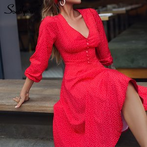 Southpire Sexy Red Long Dress For Women Dot Printing Deep V-neck A-line Elegant Dress Autumn Winter Party Fashion Clothing 201023