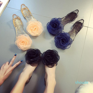 Hot Sale- New Summer Sandals Female Rose Flowers Transparent Crystal Bottom Jelly shoes Female Fish Mouth Shoes Flat Sand Beach Cool Slipper