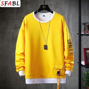 SFABL Casual O-Neck Solid Sweatshirt Mens Autumn Spring Hip Hop Streetwear Male High Street Pullover Hoodie Tops Fashion Q1105