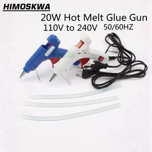Free shipping 20W EU US Plug Hot Melt Glue Gun with 3pc 20cm Industrial Thermo Heat Temperature Tool Blue white