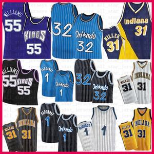 Mens Penny 1 Haríway Tracy 1 McGrady 32 Jerseys Retro Jason 55 Williams Reggie 31 Miller Basketball Jersey