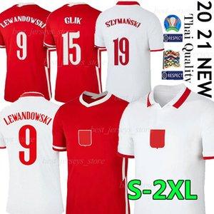 2020 2021 Pol LEWANDOWSKI equipe nacional e Futebol Início branco afastado vermelho Milik Piszczek Piatek Grosicki camisa de futebol camisas
