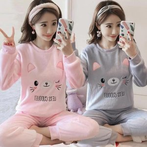Autumn and Thick Warm Clad in His Flannel Pajamas Female Winter Long-Sleeved Coral Fleece Cute Cartoon Ms. Tracksuit05