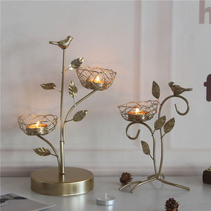 Nordic wrought iron golden bird aroma candle holder decoration romantic table table decoration candle holder small decoration