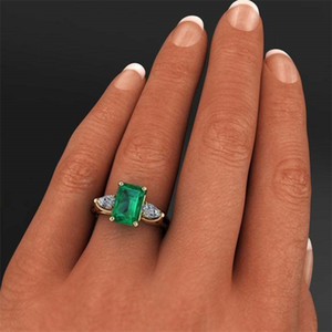 14k Gold-Schmuck Grün Smaragd-Ring für Frauen Bague Diamant Bizuteria Anillos De Reine Smaragdedelstein 14k Gold Ring für Frauen 201116
