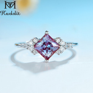 Kuololit Natural Alexandrite Gemstone Ring for Women Solid 925 Sterling Silver Ring Lab grown princess cut stone for Engagement 201112