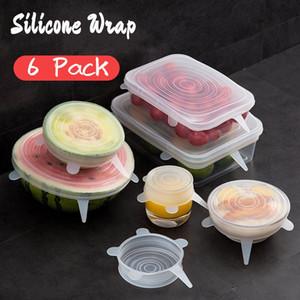 SET Wiederverwendbare Silikon-Nahrungsmittel Wrap Expanded Scratch Lids Universal-Scratchy Abdeckungen für Bowl Tassen Dosen Multifunktionale Frische Saver AHD2333