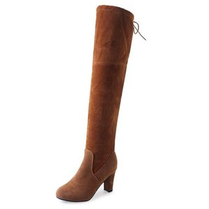 2020 Winter Large Size Suede Boots Women's Thick With High-heeled Knee Stretch Women's Boots Thigh High Botas Largas Mujer
