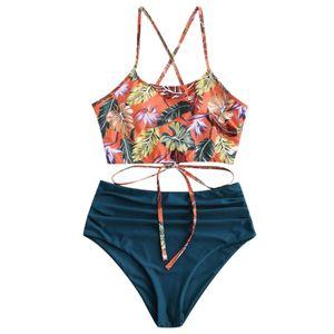 #50 Sexy Women Push-up Padded Bra Tankini Halter Bikini Set Swimsuit Two Pieces Bathing Suit Swimwear Beachwear Lingerie 2021 Q1230
