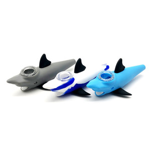 "New design 5.5"" mini water pipes shark pipe glass bongs with bowl silicone smoking pipes for smoking tobacco"
