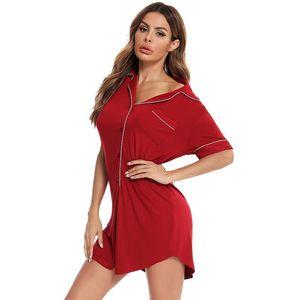 Women Sleepwear Short Sleeve Nightgown Button UP Nightshirt Modal BF Sleep Shirt Soft Sleep Tops PJS Women Sleepshirt