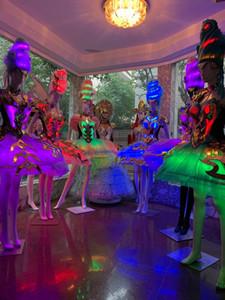 Ballroom palco de dança trajes levaram full color mulheres luz luminosos vestir roupa de festa de casamento brilhando aniversário saia usa dj