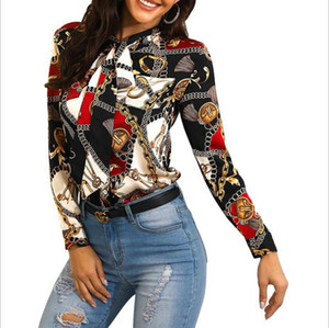 Women Blouse Fashion Streetwear Panelled Contrast Color Chain Pattern Print Womens Shirts Autumn Long Sleeve Lapel Neck Tie Tops Wholesale