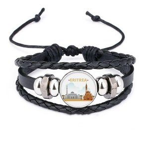 City Castle Building Eritrea Bracelet Braided Leather Rope Bead Wristband