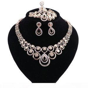 Women Bridal Fine Crystal African Beads Jewelry Sets For Wedding Party Dress Accessories Set Earrings Pendants Necklace