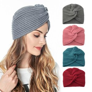 NEW Fashion Autumn Winter Warm Knitting Turban Cap Knot Bandanas Skullies Beanies Solid Cross Women Hat Hair Scarfs Headwear