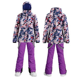 Women's Winter Waterproof Windbreak Snowboard Suit Thickened Warm Jacket and Pants Snow Sports Alpine Ski Set for Women