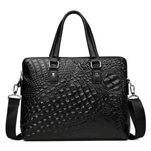 Men Crocodile Pattern Briefcase Bag Cowhide Leather Man Business Bag Shoulder Messenger Men laptop fashion totes handbag