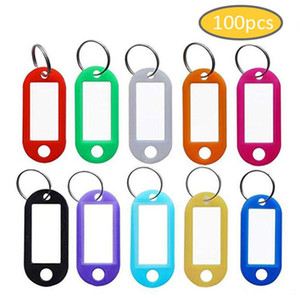 100pcs lot Tough Plastic Keychain Key Tags ID Label Name Tags With Split Ring For Luggage Room Number Key Chains Prevent Lost Tags Wholesale
