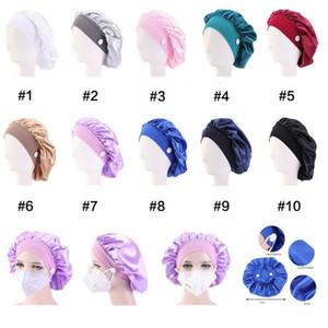 10 pcs DHL Silk Nighk Cap chapeau de nuit peut accrocher Masque Femme Head housse de sommeil Cap Cap Satiné Bonnet pour Beaux cheveux Home Nettoyage Fournitures de cheveux CPA3306