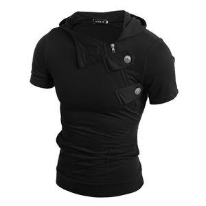 Black Summer Men T Shirts Fashion Slim Fit Tops Tees Hooded Short Sleeve Mens Clothing Casual Tee Shirts