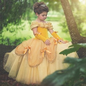 Girls Princess Dress Cosplay Dress Up Costume Birthday Party Clothes Belle Beauty Halloween Prom Gown Playwear 201020