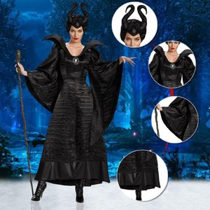 M-XL Halloween Gothic Vampire Cosplay Costumes Woman Scary Horror Clothing Set With Horns Plus Size Black Queen Witch Clothing
