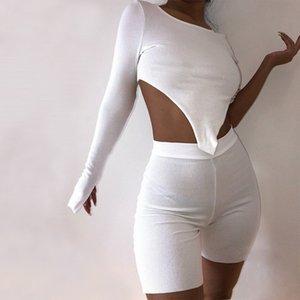 Mujeres camiseta recortada de alta cortocircuitos de la cintura de tejer envuelta en el pecho Disimetría manga Yoga superior ocasionales elásticos pantalones deportivos