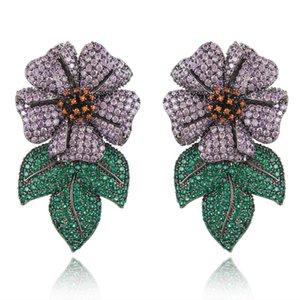 missvikki New Gorgeous Jewelry Luxury Big Flower Pendant Earrings for Noble Women Bridal Wedding boucle d'oreille femme 2020