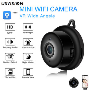 Usvision V380 1080P WIFI IP Camera 2MP Mini Indoor 180degree Fisheye Wide Angle P2P Motion Detection Two Way Audio Wireless Security Camera