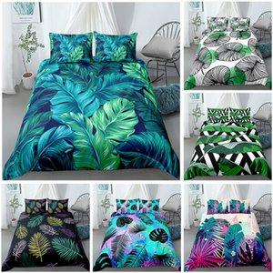 3D Palm Leaves Bedding Set Duvet Cover Pillowcases for Home Bedroom Luxury Bed 2 3pcs Bohemian Comforter LJ201223