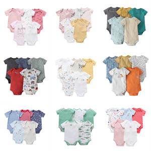2021 Été 5pcs / Pack Baby Boy Girl Vêtements Ensemble de vêtements à manches courtes Romper Né Vêtements Unisexe Nouveau-né Costume Vêtements Coton 6-24M Q0109