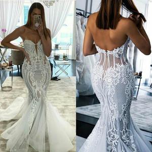 2021 Wedding Dresses Sweetheart Lace Appliques Beach Wedding Dress Sweep Train Plus Size Boho Bridal gown Vestidos De Novia