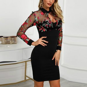 Designer Women Sheer Mesh Floral Embroidery Bodycon Dress Lace Mesh Evening Party Midi Dress Sexy Elegant Vestidos