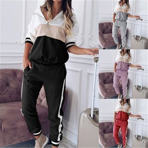 Ladies Multicolor Splicing Sets Fashion Trend Long Sleeve Zipper Hooded Tops Pants Sports Suits Designer Female Autumn New Casual Tracksuits