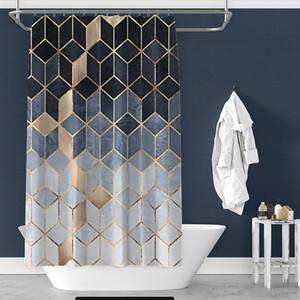 노르딕 패션 샤워 커튼 방수 폴리 에스터 기하학적 대리석 패턴 후크 욕실 장식 액세서리 180x180cm 201128