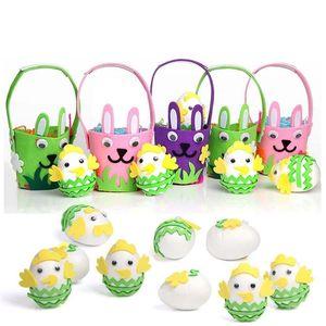 DIY Felt Easter Basket Handmade Kids Bunny Bucket Cute Rabbit Candy Easter Eggs Bag Handbag Party Storage Decoration Tote GG12001